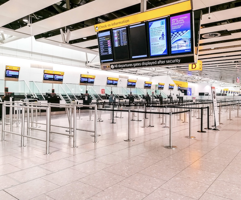 empty Heathrow Airport during pandemic