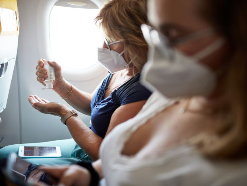 hand sanitizer airplane passenger