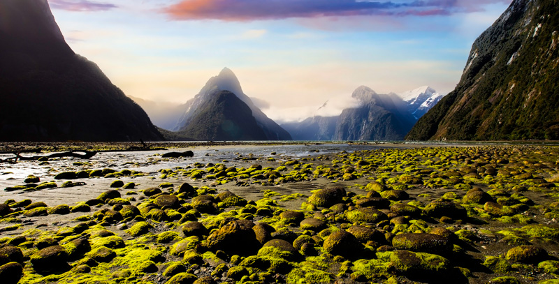 The Nature in Mitre peak at Milford sound-New Zealand