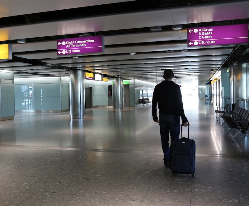 passenger with airport at Heathrow Airport