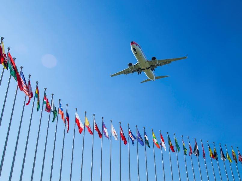 plane EU flags