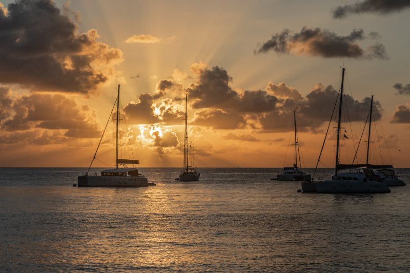 Sunset view of yachts and catamarans anchored in Saint Vincent and the Grenadines