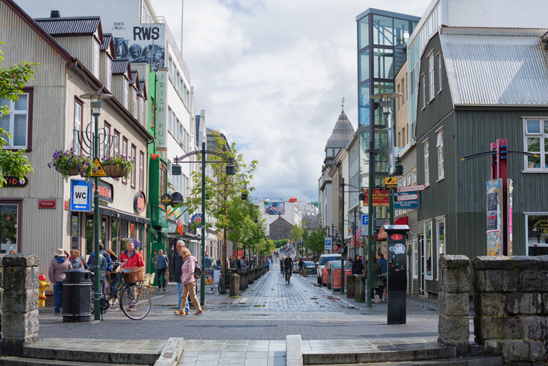 the main street in Downtown Reykjavik iceland