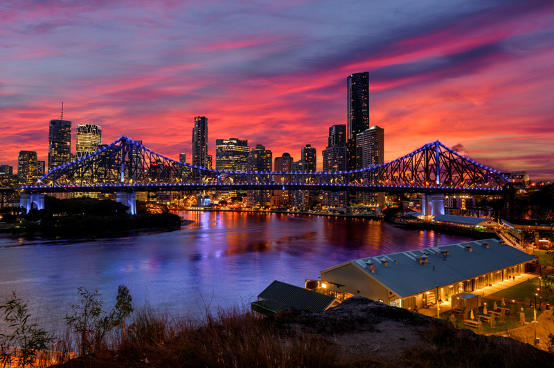 Brisbane's story bridge at twilight