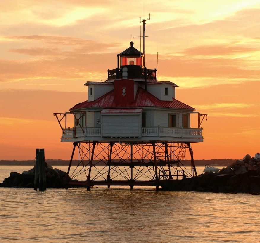 thomas point lighthouse water sunset chesapeake maryland