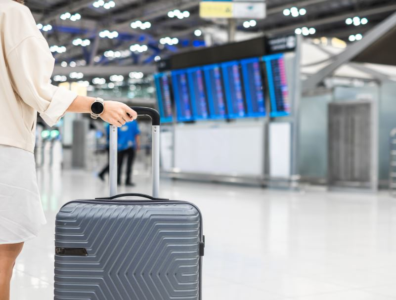 traveler airport suitcase