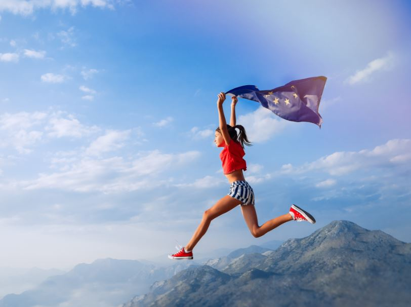 EU woman flag mountain