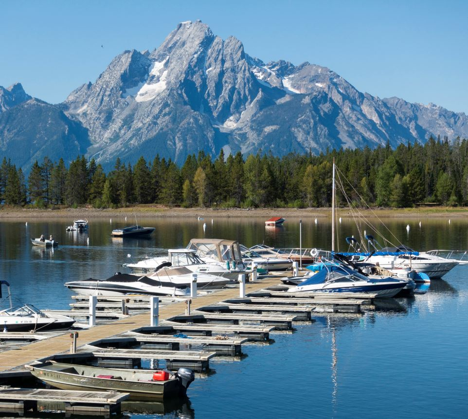 Jackson Lake boats and jetty