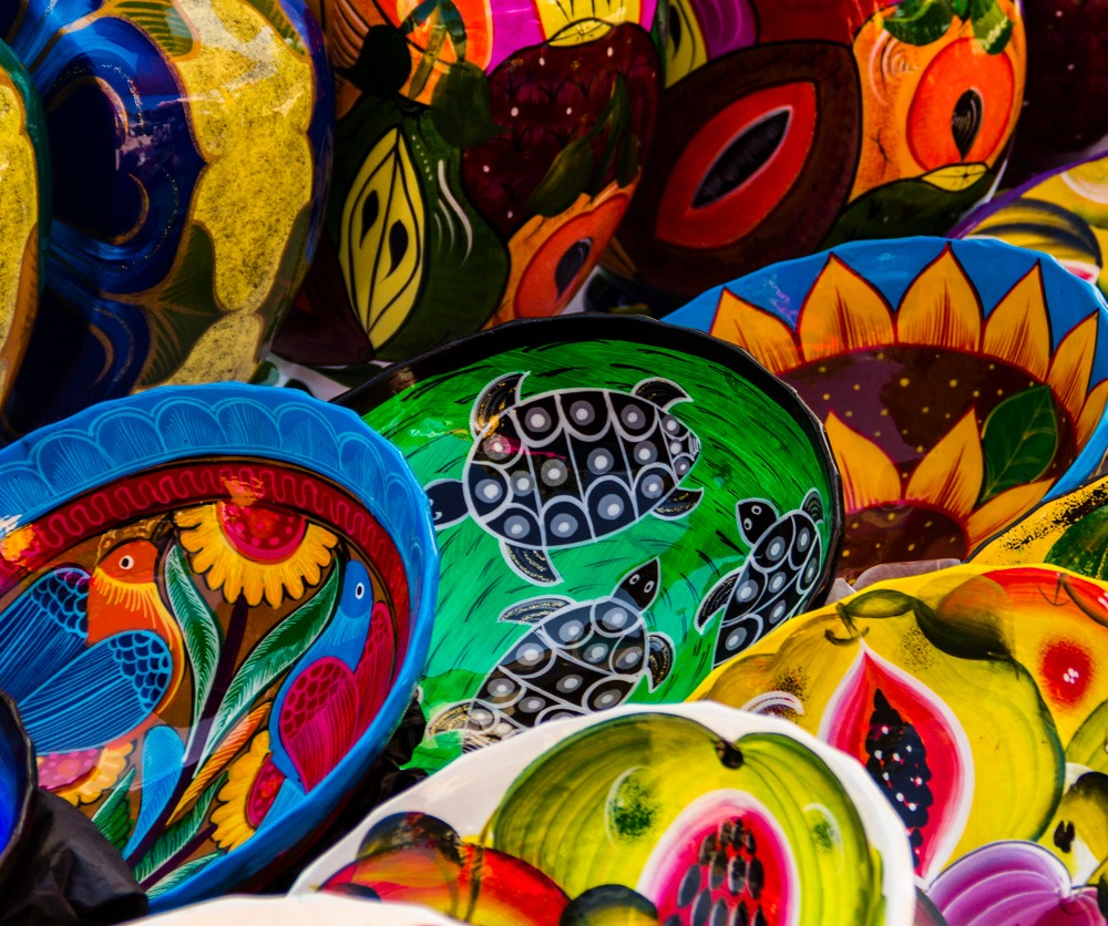 Mexican pottery market.