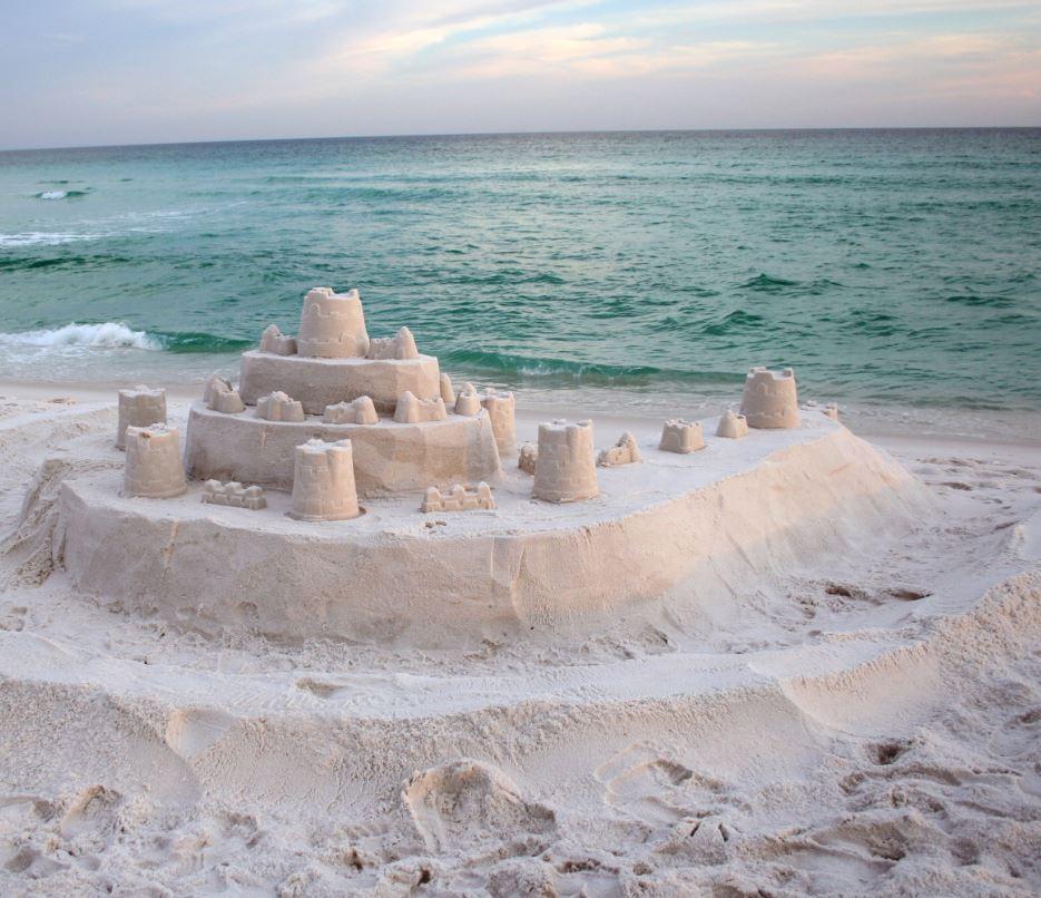 sandcastle on beach, Panama City, Florida