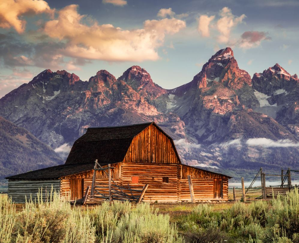 T.A. Moulton Barn and mountains