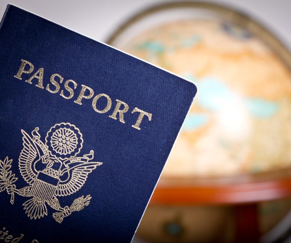 US passport and globe.