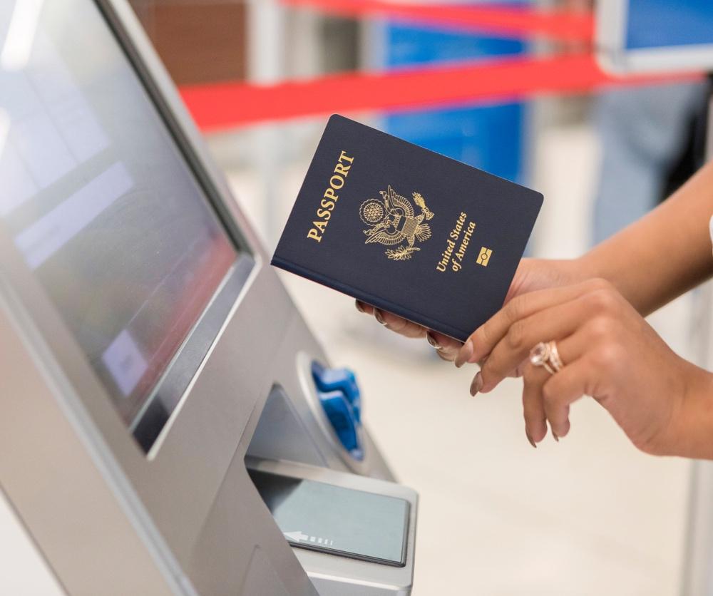 US passport at kiosk