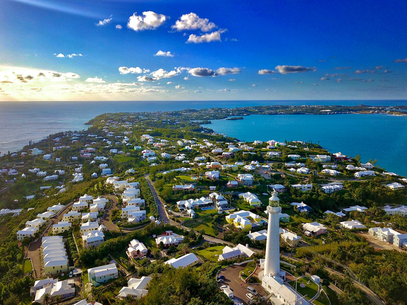 The drone aerial view of Bermuda island and the Gibbons lighthouse