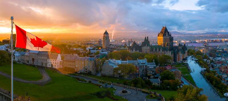 Aerial panorama view of Old Quebec City.