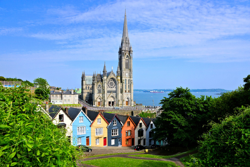 Colorful row houses in Cobh, County Cork, Ireland