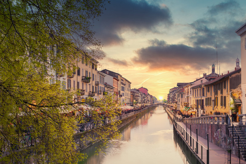 Naviglio Grande canal at sunset italy