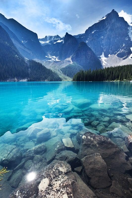 Lake Moraine in the Banff National Park, Alberta, Canada