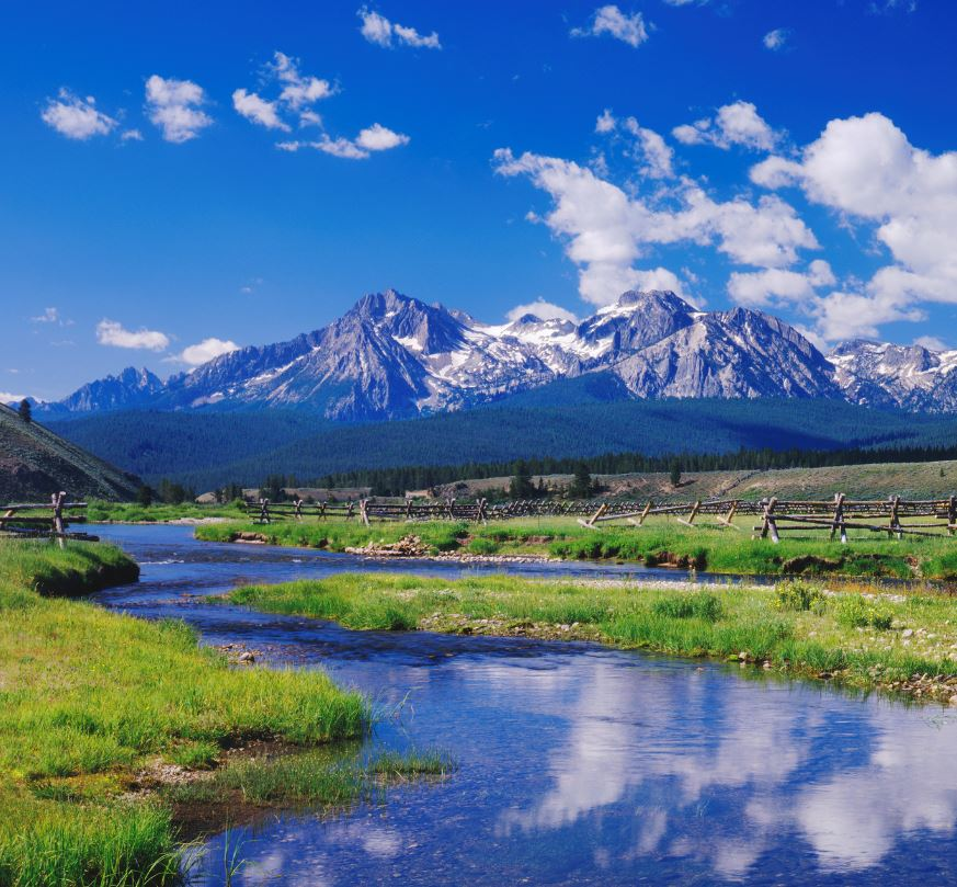 Sawtooth mountains and stream