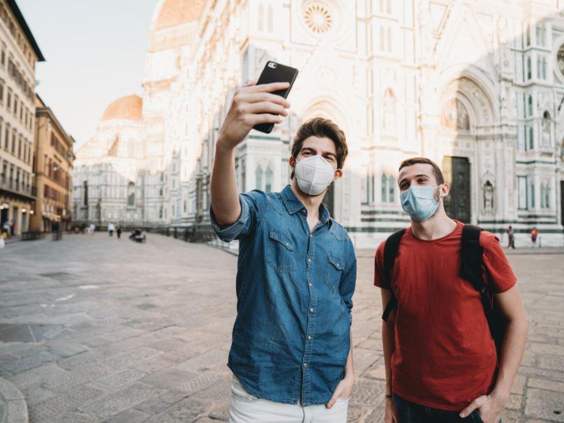 tourists florence italy masks