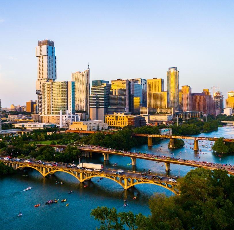 Austin skyline and river