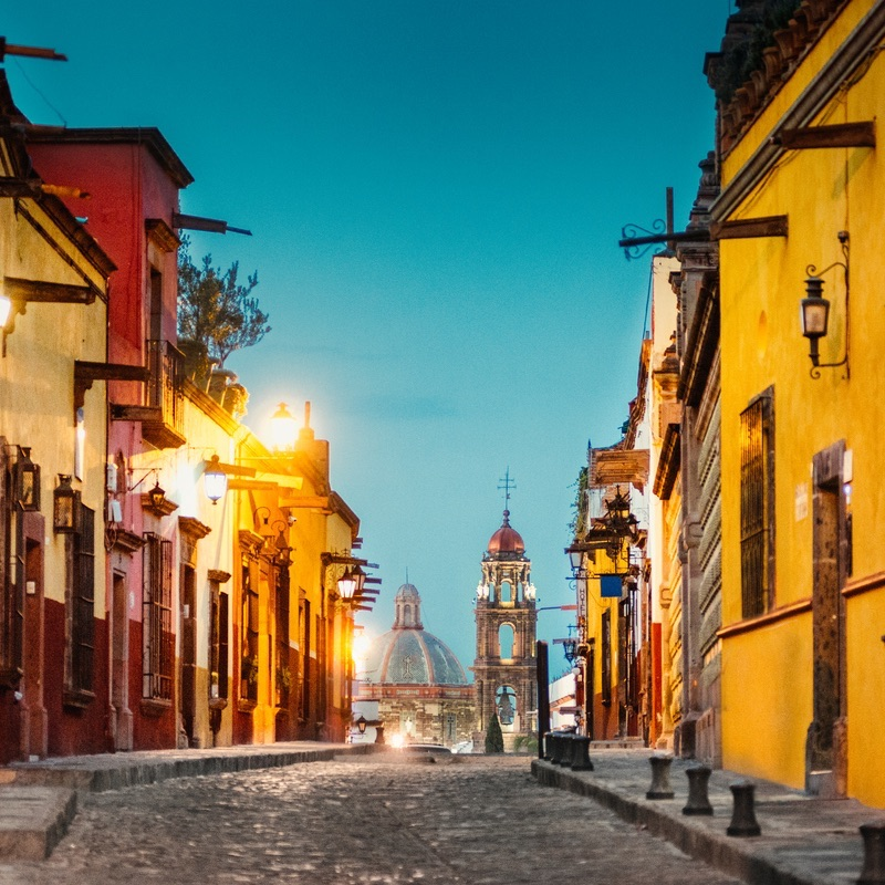 Cobbled street, San Miguel de Allende, Guanajuato, Mexico