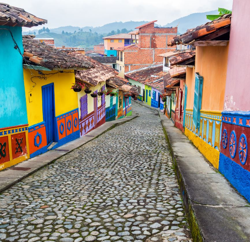 Colorful street in Cartagena