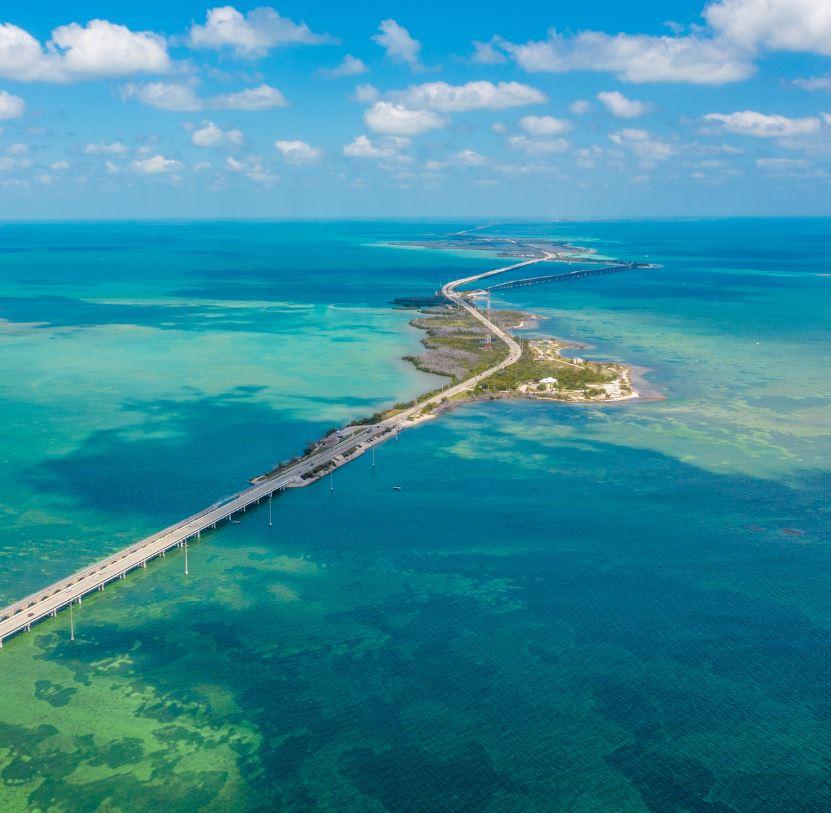Florida Keys and road bridge