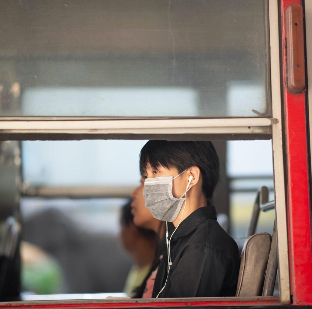 Thai man wearing a mask during the pandemic