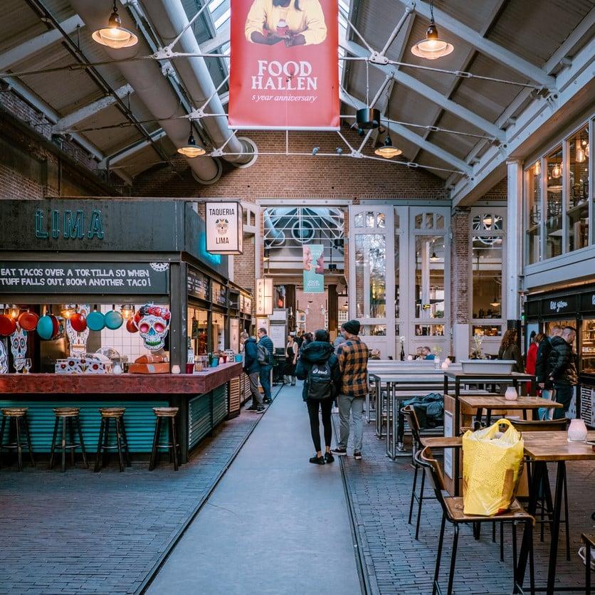 AMSTERDAM,NETHERLANDS- NOVEMBER,2019:Popular food court Foodhallen in center of Amsterdam city.