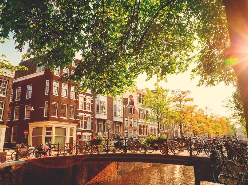 Brug Canal Amsterdam Fietsen