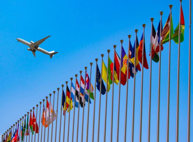 flight airplane EU flags