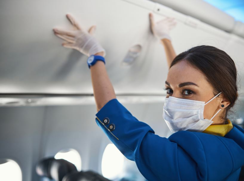 flight attendant mask gloves