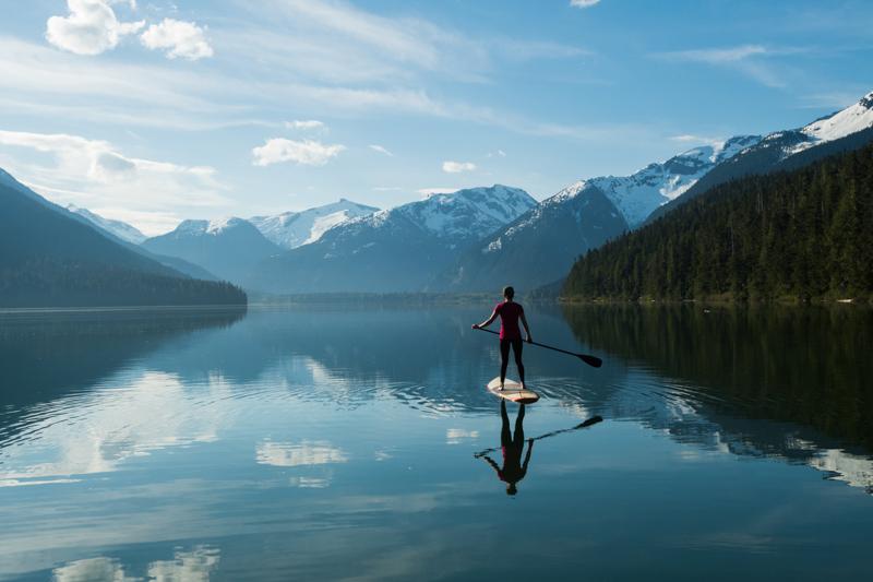paddleboarding on lake