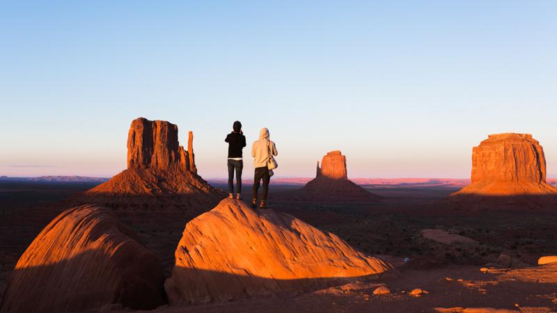 sunset in Monument Valley, Arizona.