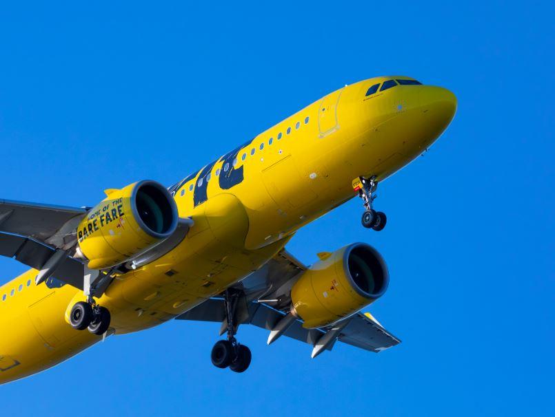 spirit airlines flight yellow airplane