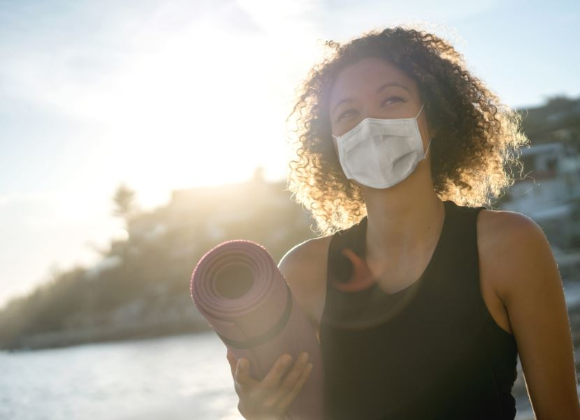 woman mask covid yoga