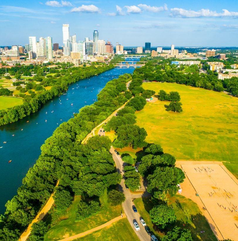 Zilker Park from air