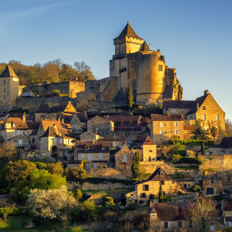 Castlenaud castle and village on hill France