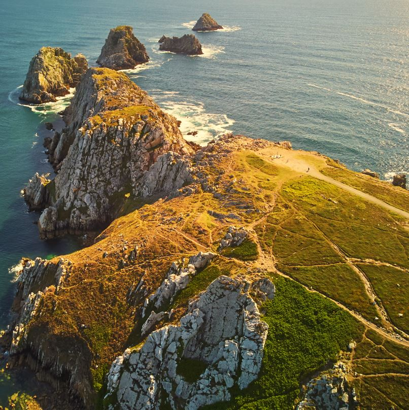 Crozon peninsula Brittany from above Sea and cliffs