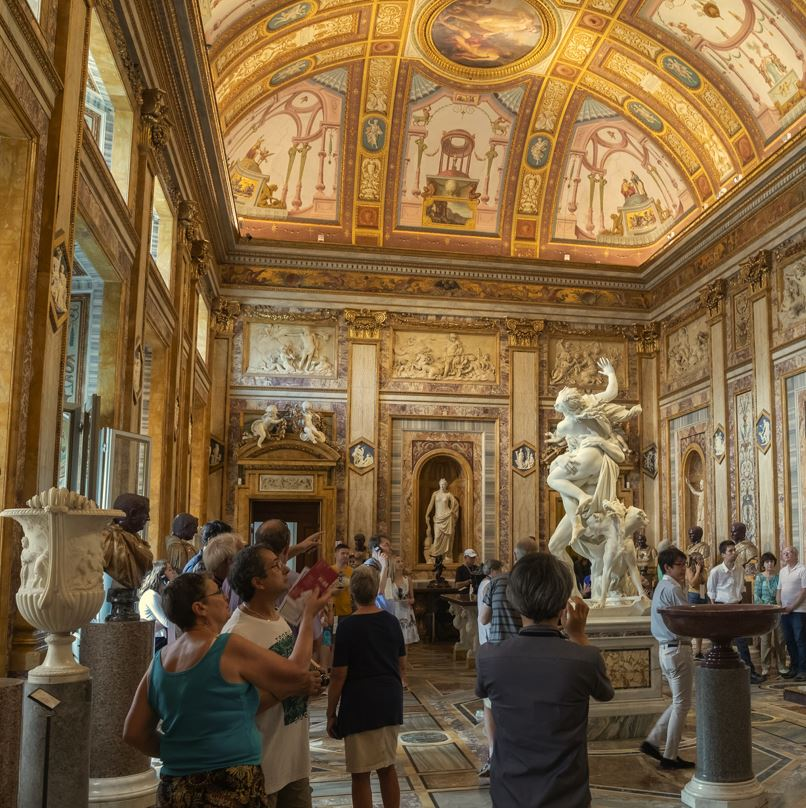 Borghese Gallery Rome and tourists