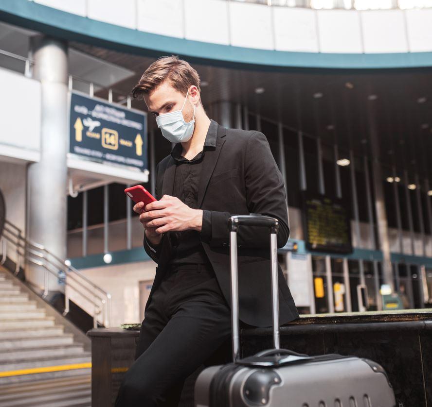 traveler using app