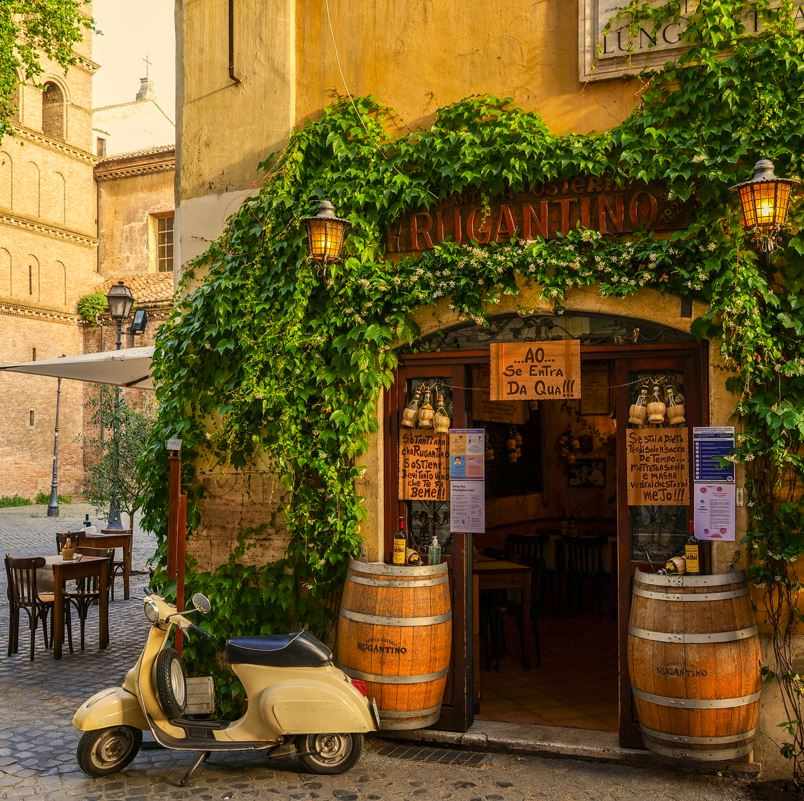 Rome bar and moped