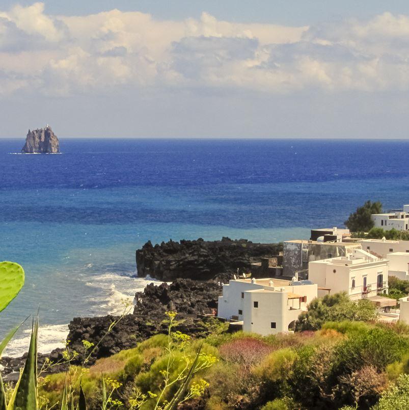 Stromboli hillside and sea