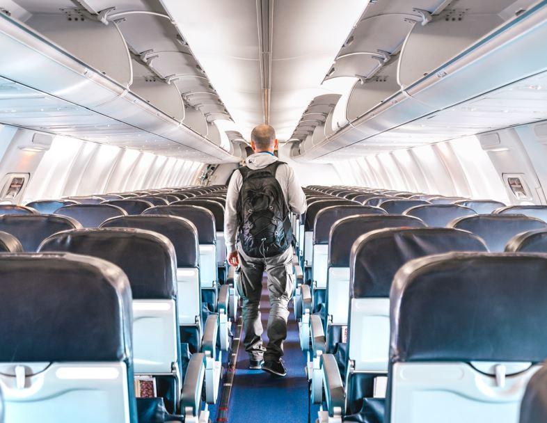 empty flight aisle cabin