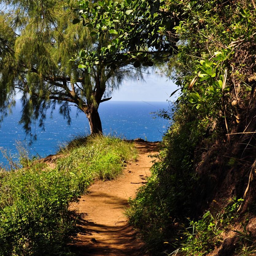 Stunning view of Na Pali Coast along Kalalau Trail on Kauai, Hawaii.