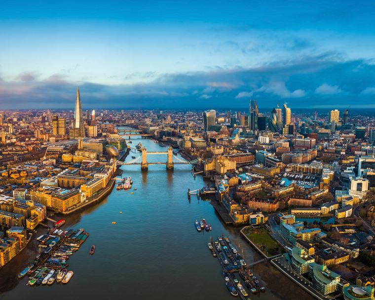 london aerial river thames