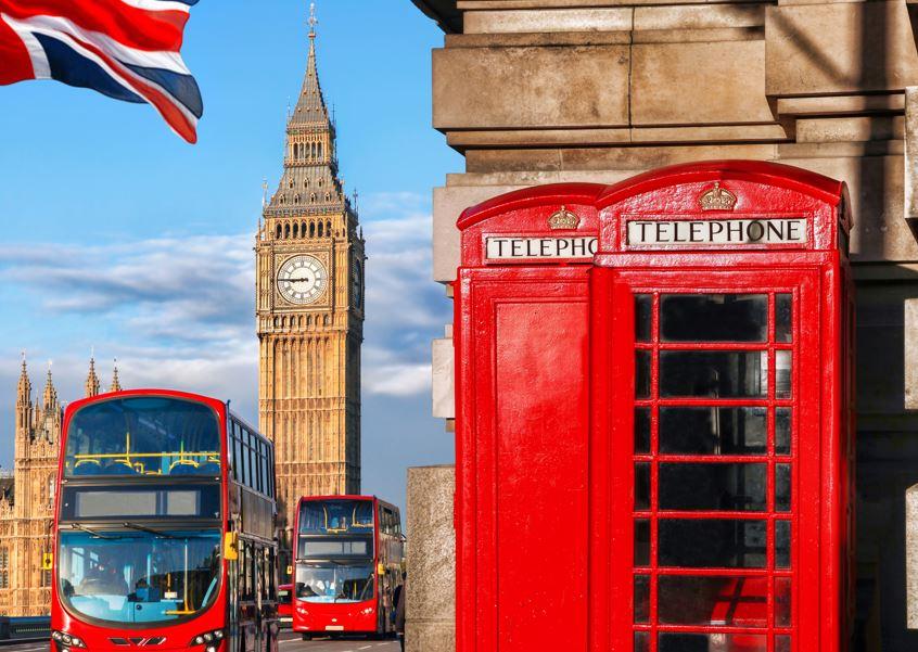 london bus phone box big ben uk