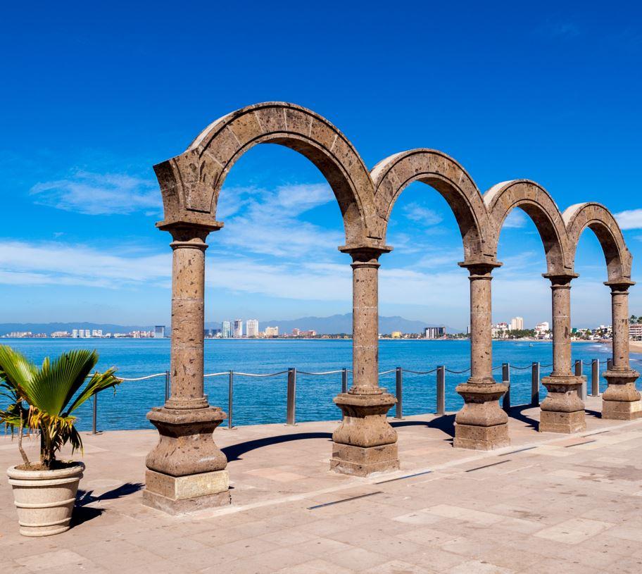 Arches on beach in Puerto Vallarta
