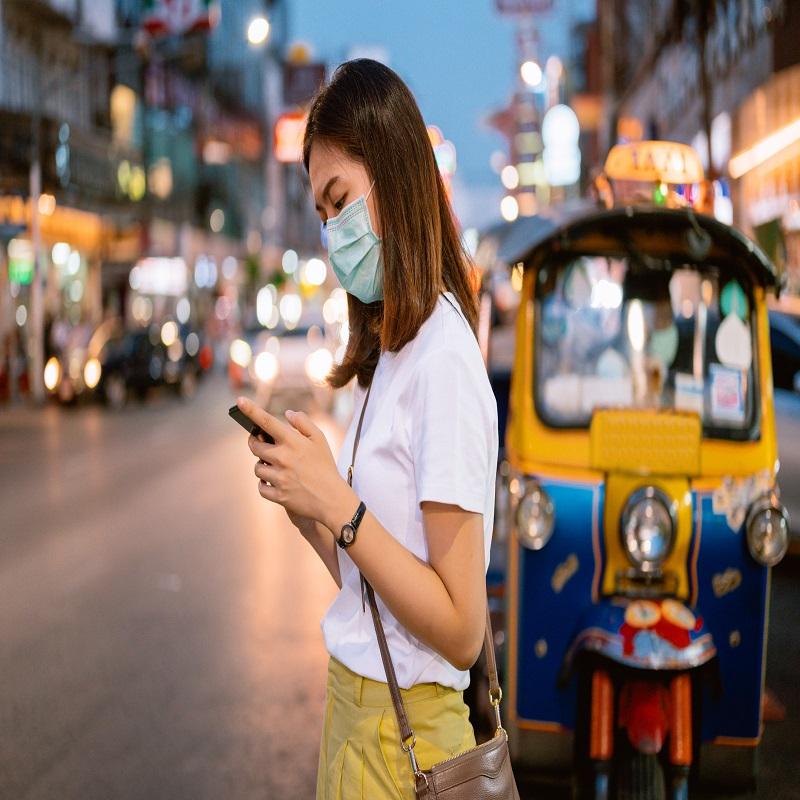 Girl Wears Mask In Bangkok